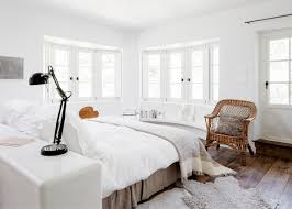 all white bedroom with a floating bed layout - coco kelley coco kelley