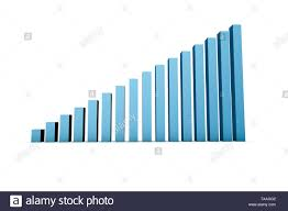 Chart Business 3d Rendering Front View Of Blue Colored Business Statistic