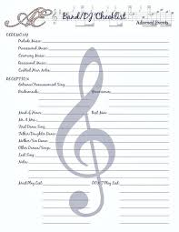 Wedding Checklist Printable Music List Template Reception Songs