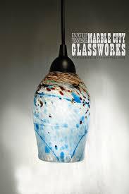 hand blown lighting. Blue Speckled Hand Blown Glass Pendant Light - Unique Lighting Artisan Lights Example Listing