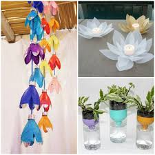 a mobile made of plastic bottles candleholders made from milk jugs plastic bottle self