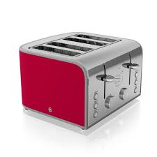 Retro Toasters swan retro 4 slice toaster red st17010rn at wilko 5731 by guidejewelry.us