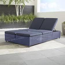 Cb2 outdoor furniture Steel Dune Navy Double Chaise Sofa Lounge With Sunbrella Cushions Crate And Barrel Cb2 Outdoor Furniture Crate And Barrel