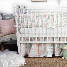 peach green cactus gender neutral baby crib bedding set