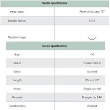 Suture Size Chart Suture With Needle Coated Vicryl Absorbable Undyed Braided