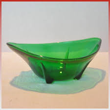 vintage dark green footed glass bowl
