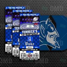 Duke Basketball Seating Chart Duke Blue Devils Sports Ticket Style Party Invites My Boys