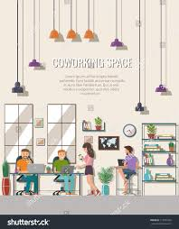 the creative office. Vector Illustration Of Coworking Space. Working Place, Office. People In The Creative Office C