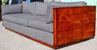 Wood Case Sofa by Milo Baughman Refinished Modern Sofa Mid Century