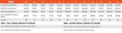 Size Charts Metric Fxr Racing Usa
