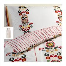 ikea akerkulla twin duvet cover set fl stripes red gray yellow Åkerkulla swedish xmas single
