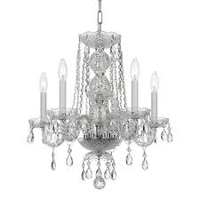 elight design crystal 17 inch five light chrome mini chandelier