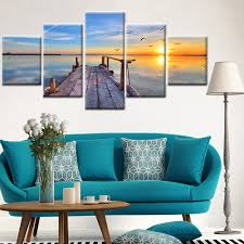 Living Room Paintings Art 5 Panel Wall Art Seascape Canvas Painting Sunset Wall Pictures For