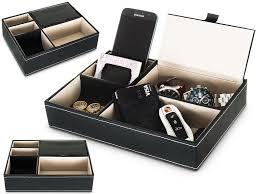 livivo black 5 compartment leather valet tray mens watch keys desk organiser tidy