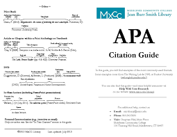 Apa Citation Guide Middlesex Community College Middletown Ct
