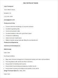 Sample Sales Clerk Resume Template