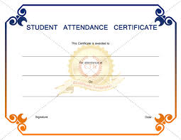 Attendance Award Template Editable Student Attendance Award Certificate Template