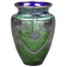 loetz glass vase with sterling silver overlay circa 1900 for