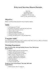 ... Resume Example, Entry Level Secretary Resume Example Secretarial Resume  Templates: 48 Secretarial Resume Examples ...