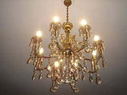 antique chandelier with crystal drops sold