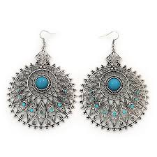 large filigree sky blue diamante chandelier earrings in burn silver metal 9 5c