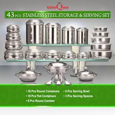 kitchen queen 43 pcs stainless steel storage serving set