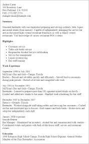 ... resume sample bottle service waitress job description ...