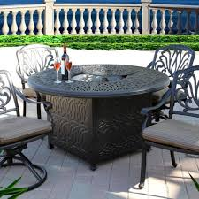 5pc outdoor dining set with 52 round fire pit dining table series 2000 antique