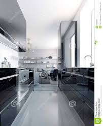 Polished Concrete Floor Kitchen Modern Black Kitchen Interior Stock Illustration Image 59229080