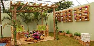 wood pallet furniture ideas. Outdoor Furniture Ideas Creative Vertical Pallet Garden Wooden Chairs Flower Table Wood