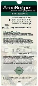 Moa Shooting Chart Accuscope 1 8 Moa Scope Sighting Tool Chart
