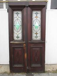 antique stained glass double entrance french doors architectural salvage
