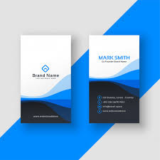 Vertical Business Card Blue Template Vector Free Download