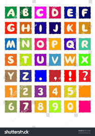 Cartoon Alphabet On Square Colored Paper Stock Illustration