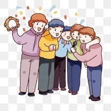 hand drawn cartoon friends gathering decorative pattern hand painted q version sing new year