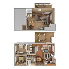 2 bedroom loft. 3D Floor Plan 2 Bedroom Loft L