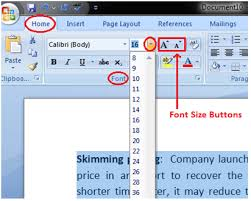 change text size to format font size in ms word javatpoint