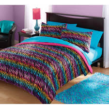 What size is a queen comforter Mens Dawn Sears Your Zone Mink Rainbow Zebra Bedding Comforter Set Walmartcom