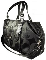 Coach 25292 Campbell Black Signature Large Satchel Handbag