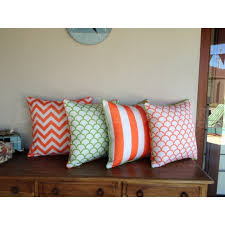 Cushion Cover Orange Green Chevron Zig Zag Reversible Outdoor Pillow