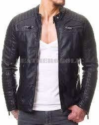 mens vintage black genuine leather jacket slim fit real biker new xs 3xl