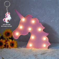 Glintee Unicorn Led Night Lamp Decorative Marquee Signs Battery Operated Light For Party Supplies Wall Decoration For Living Room Bedroom Pink