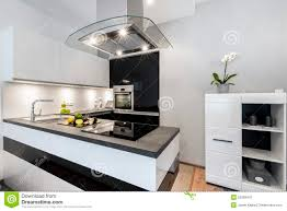 White Kitchen Modern Black And White Kitchen Modern Interior Design Stock Photo Image