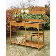 garden potting bench table outdoor planting shelf patio decor furniture oak new