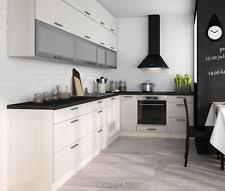 L Form Küchenzeile 310x210cm Einbauküche Ohne Geräte Jersey / Fino Weiß  16154