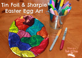 easy easter crafts for two year olds. tin foil \u0026 sharpie easter egg art - so easy fun for kids of all crafts two year olds