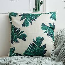 miulee pack of 4 tropical leaves series throw pillow cover decorative cotton linen burlap square outdoor cushion cover pillow case for car sofa bed couch 18