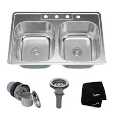 kraus drop in stainless steel 33 in 4 hole double bowl kitchen sink