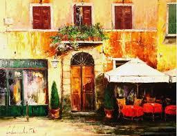 cafe in tuscany art by gleb goloubetski gallery