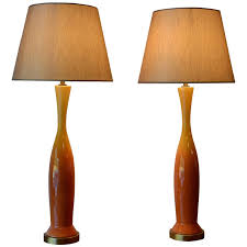 pair of mid century modern ginger jar ceramic table lamps vibrant yellow for at 1stdibs